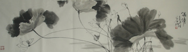 Chinese Lotus Painting,46cm x 180cm,2388004-x