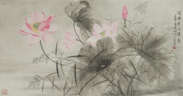 Chinese Lotus Painting,50cm x 100cm,2388007-x