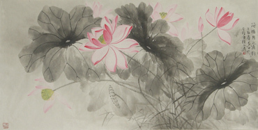 Chinese Lotus Painting,68cm x 136cm,2388008-x