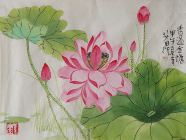 Chinese Lotus Painting,34cm x 46cm,2388014-x