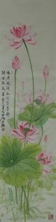 Chinese Lotus Painting,34cm x 138cm,2388017-x