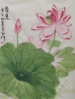 Chinese Lotus Painting,34cm x 46cm,2388020-x