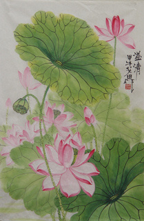 Chinese Lotus Painting,46cm x 70cm,2388021-x