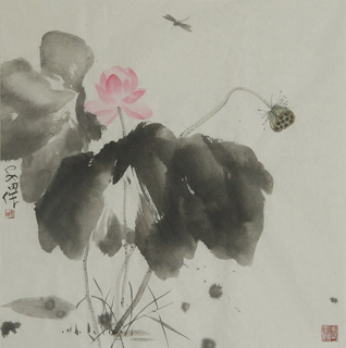 Chinese Lotus Painting,68cm x 68cm,2388025-x