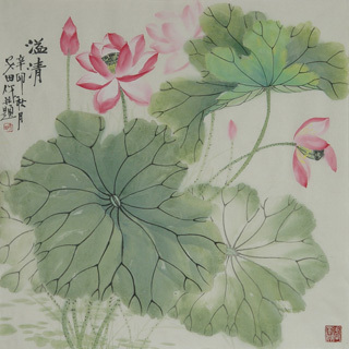 Chinese Lotus Painting,68cm x 68cm,2388026-x