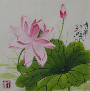 Chinese Lotus Painting,34cm x 34cm,2388028-x
