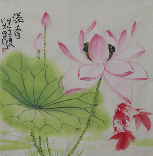 Chinese Lotus Painting,34cm x 34cm,2388030-x