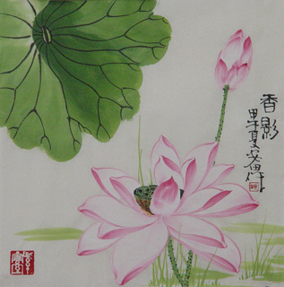 Chinese Lotus Painting,34cm x 34cm,2388033-x