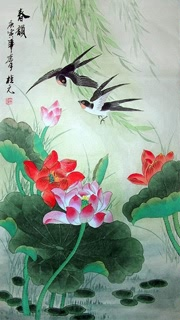 Chinese Lotus Painting,55cm x 95cm,2391007-x