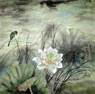 Chinese Lotus Painting,50cm x 50cm,2395007-x