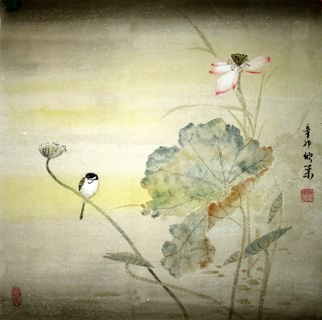 Chinese Lotus Painting,50cm x 50cm,2395009-x