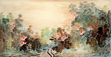 Chinese Lotus Painting,66cm x 136cm,2397002-x