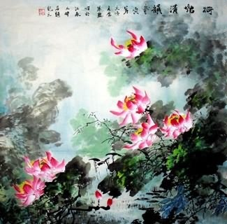 Chinese Lotus Painting,69cm x 69cm,2397003-x