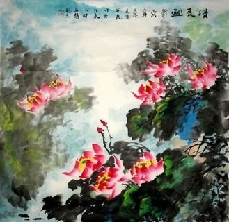 Chinese Lotus Painting,69cm x 69cm,2397004-x