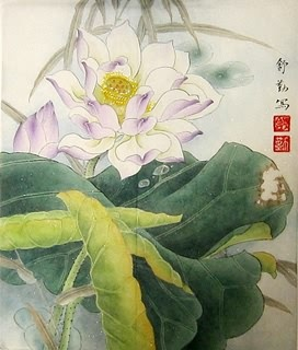 Chinese Lotus Painting,34cm x 46cm,2405005-x