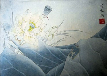 Chinese Lotus Painting,34cm x 46cm,2405007-x