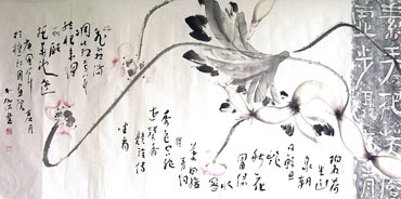 Chinese Lotus Painting,66cm x 136cm,2424003-x