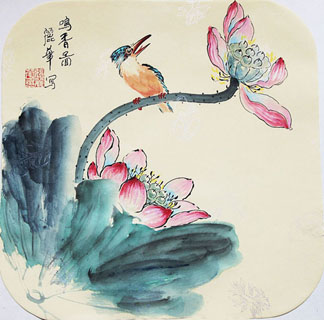 Chinese Lotus Painting,34cm x 34cm,2485045-x
