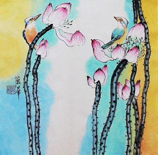 Chinese Lotus Painting,34cm x 34cm,2485053-x