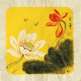 Chinese Lotus Painting,34cm x 34cm,2485055-x
