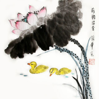 Chinese Lotus Painting,34cm x 34cm,2485056-x