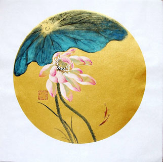 Chinese Lotus Painting,34cm x 34cm,2485058-x