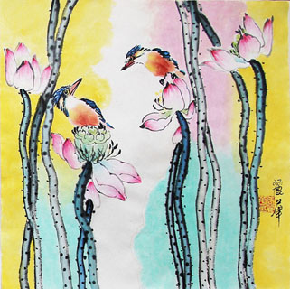 Chinese Lotus Painting,34cm x 34cm,2485059-x