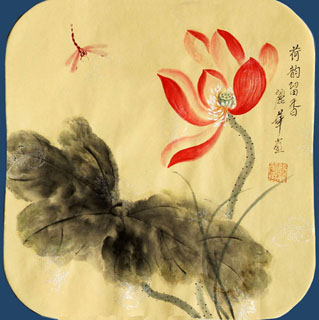 Chinese Lotus Painting,34cm x 34cm,2485061-x