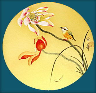 Chinese Lotus Painting,34cm x 34cm,2485063-x
