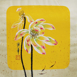 Chinese Lotus Painting,34cm x 34cm,2485064-x