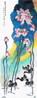 Chinese Lotus Painting,49cm x 138cm,2485068-x