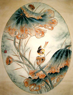 Chinese Lotus Painting,34cm x 46cm,2577005-x