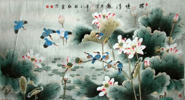 Chinese Lotus Painting,97cm x 180cm,2600006-x