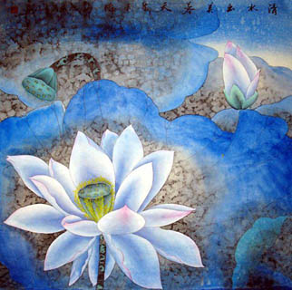 Chinese Lotus Painting,66cm x 66cm,2607011-x