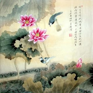 Chinese Lotus Painting,69cm x 69cm,2617013-x