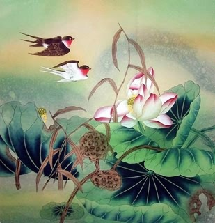 Chinese Lotus Painting,69cm x 69cm,2617014-x