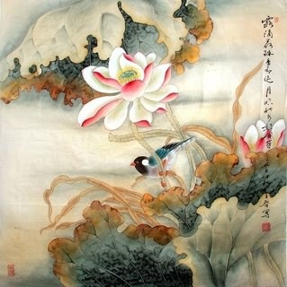 Chinese Lotus Painting,69cm x 69cm,2617016-x