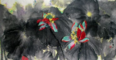 Chinese Lotus Painting,66cm x 136cm,2695007-x