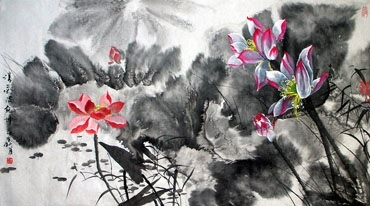 Chinese Lotus Painting,76cm x 153cm,2695008-x