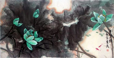 Chinese Lotus Painting,66cm x 136cm,2695010-x