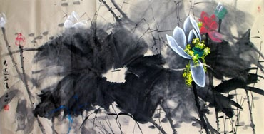 Chinese Lotus Painting,66cm x 136cm,2695015-x