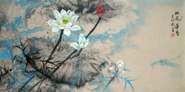 Chinese Lotus Painting,66cm x 136cm,2695016-x