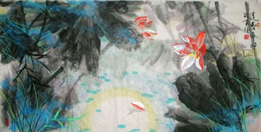 Chinese Lotus Painting,66cm x 136cm,2695017-x