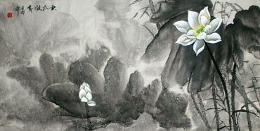 Chinese Lotus Painting,66cm x 136cm,2695019-x