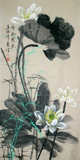 Chinese Lotus Painting,66cm x 130cm,2695022-x