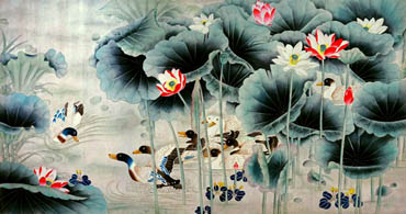 Chinese Lotus Painting,92cm x 174cm,2735067-x