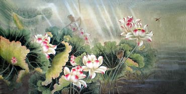 Chinese Lotus Painting,69cm x 138cm,2803002-x