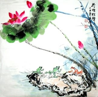 Chinese Lotus Painting,69cm x 69cm,2922001-x