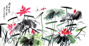 Chinese Lotus Painting,69cm x 138cm,2922002-x