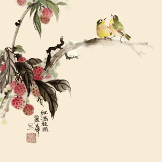 Chinese Lychee Painting,34cm x 34cm,2485073-x